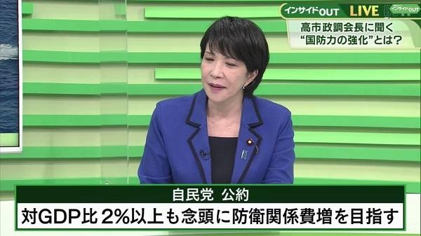 20211015高市早苗、防衛費の倍増を公約!「今は日本を守れない!GDP比2%で最低限必要なものを揃える」