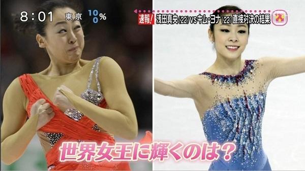 日テレ「スッキリ!」は、ジャンプ中の浅田真央の変顔をヨナと並べた悪質な放送をしたこともあった!