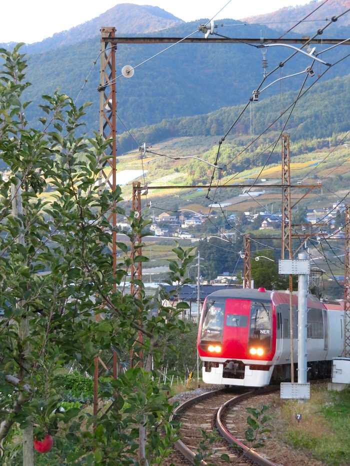 電車も まさにリンゴ色