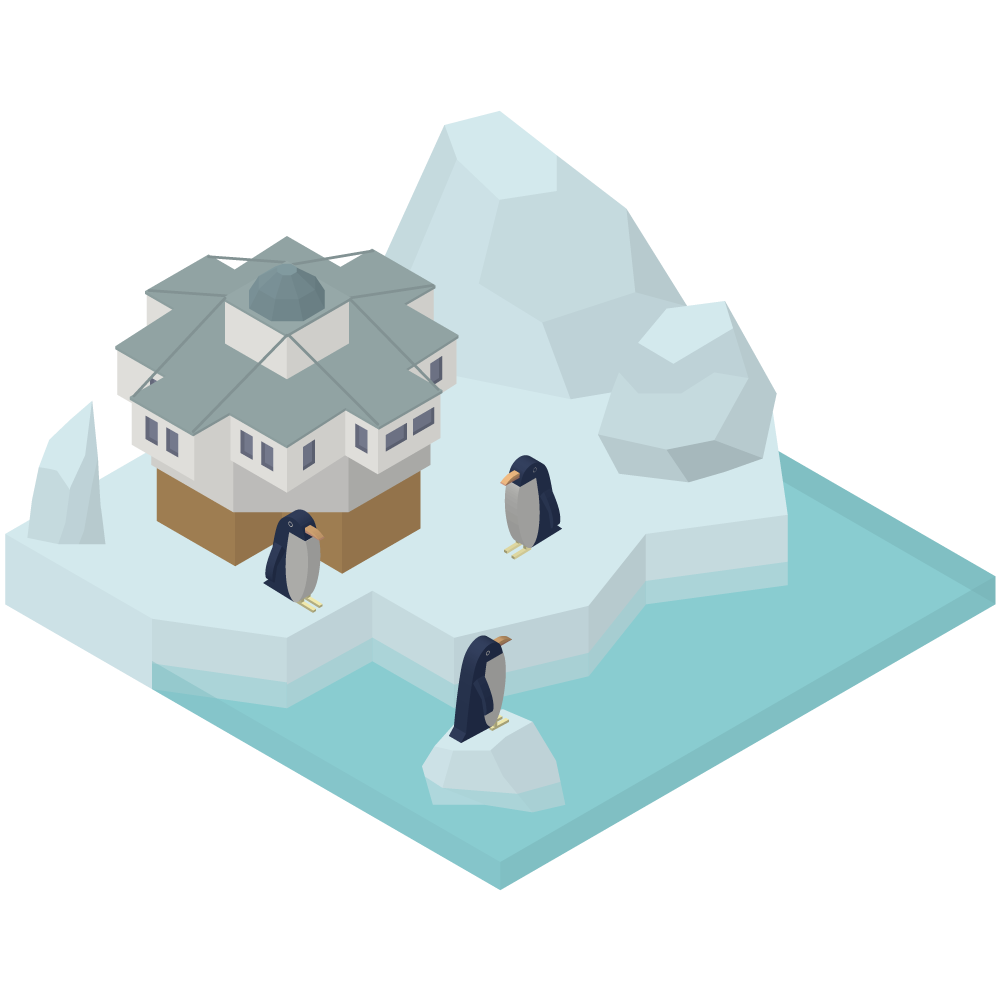 シンプルでかわいいアイソメトリックの昭和基地とペンギンのいる南極圏内の東オングル島の素材