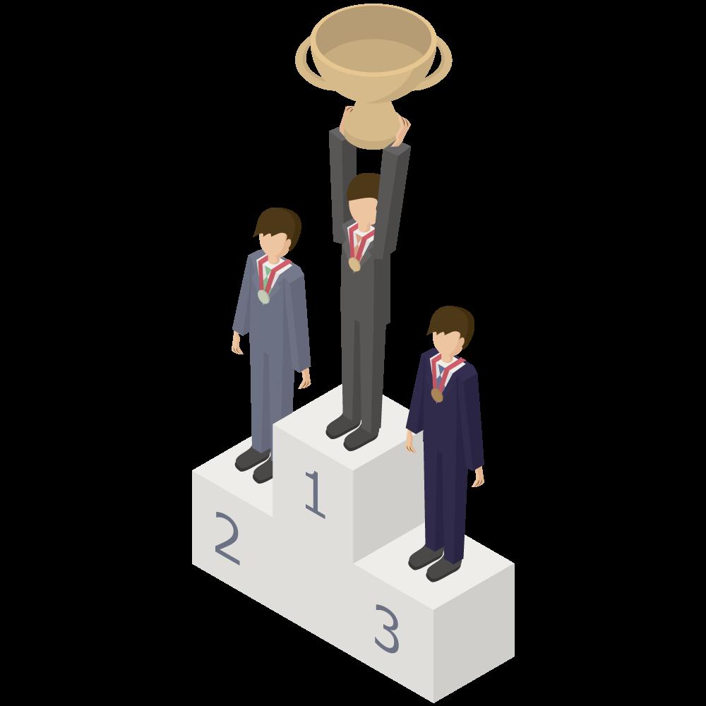 シンプルでかわいい3Dアイソメトリックのスーツの男性がメダルと優勝カップをもらい喜んでいるイラスト素材