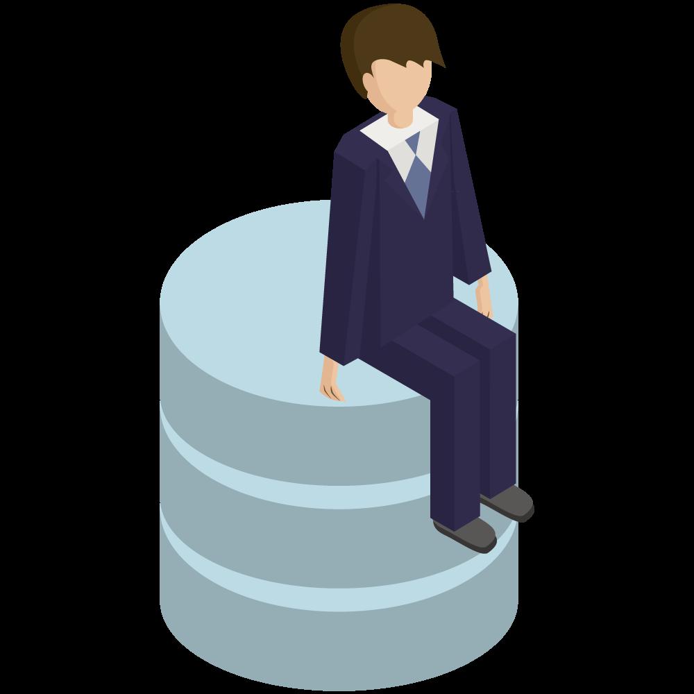 シンプルでかわいい3Dアイソメトリックのスーツの男性がデータベースの上に座っているイラスト素材