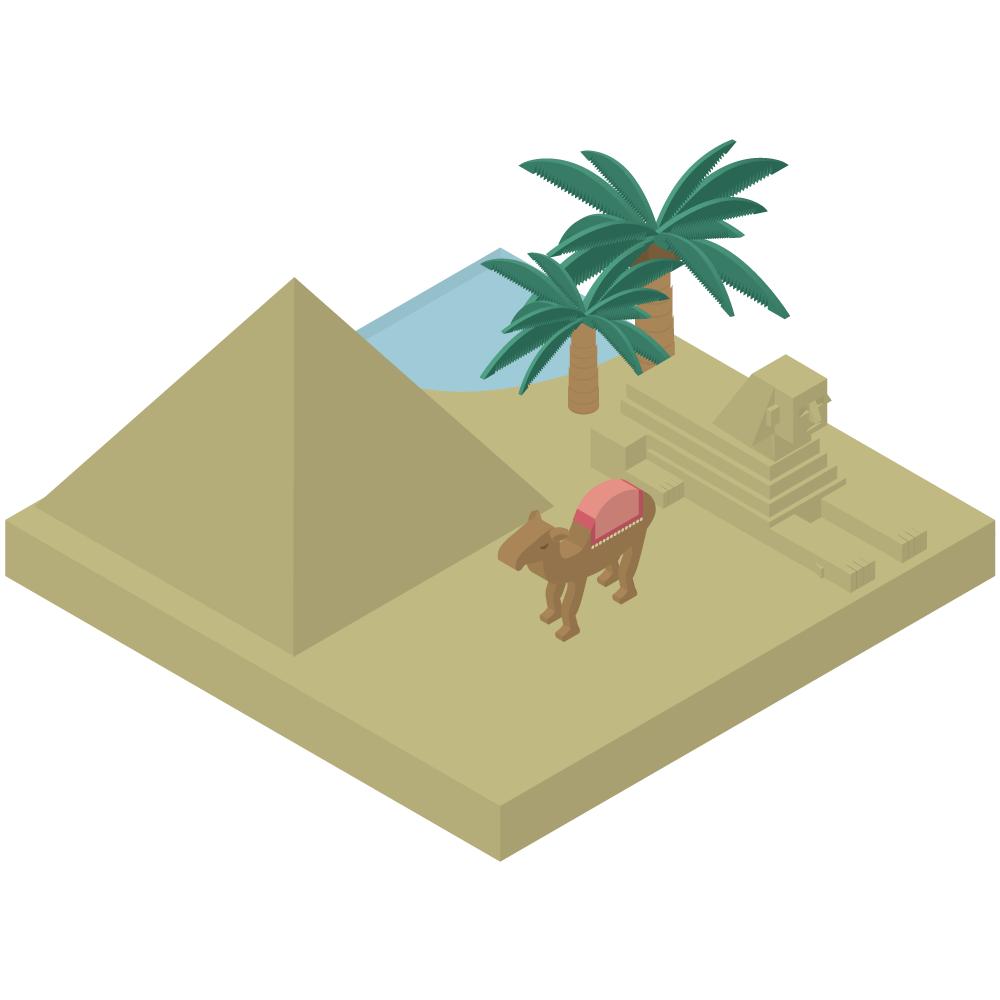 シンプルでかわいいアイソメトリックのピラミッドとスフィンクスの前にラクダが歩くエジプトのイラスト素材