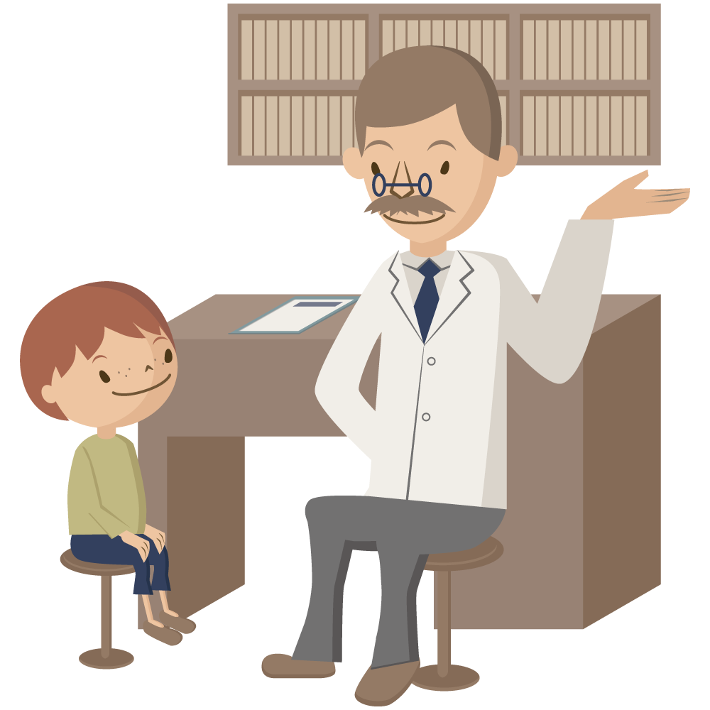 小学生の男児がひげを生やした医師からセカンドオピニオンを受けている素材