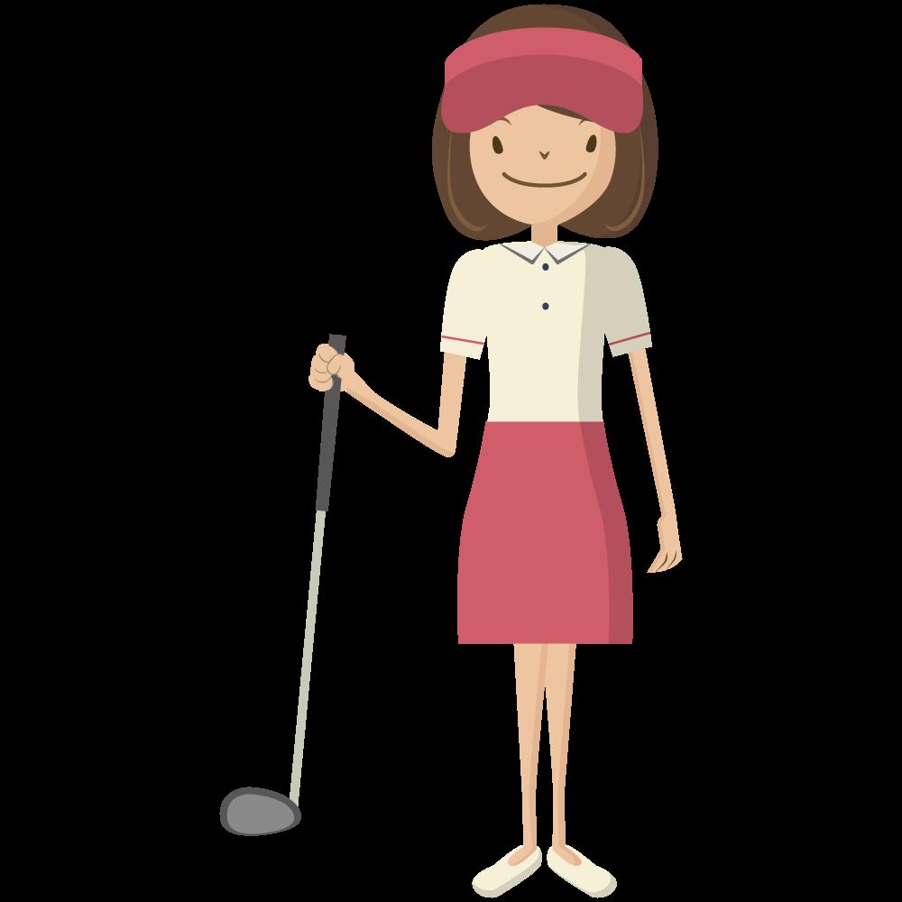 シンプルでかわいいドライバーを持った赤いサンバイザーをかぶった女子ゴルファーの素材