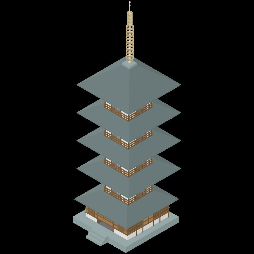 シンプルでかわいいアイソメトリックの五重の塔の素材