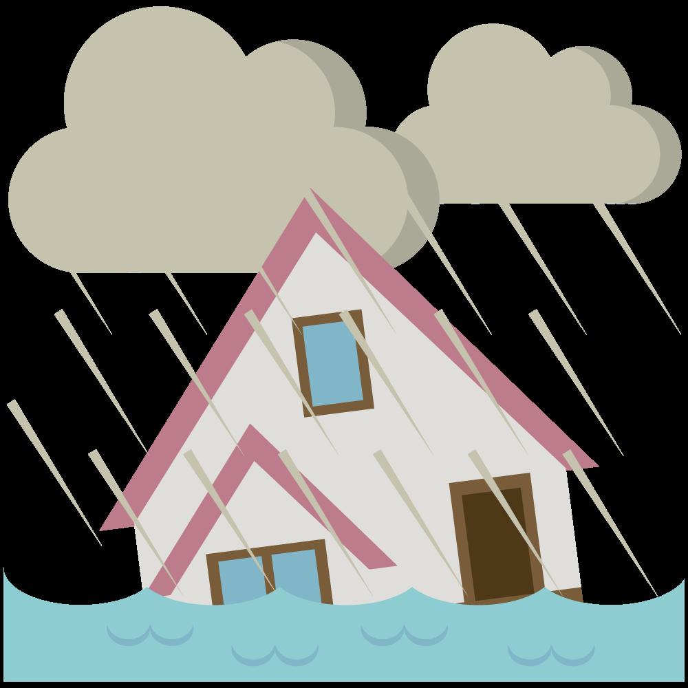 ゲリラ豪雨で浸水した建物の素材