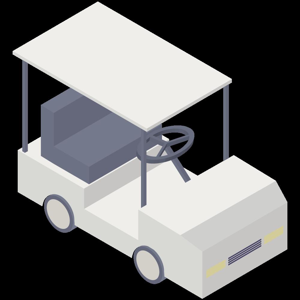 シンプルでかわいいアイソメトリックな白いゴルフカートの3D素材