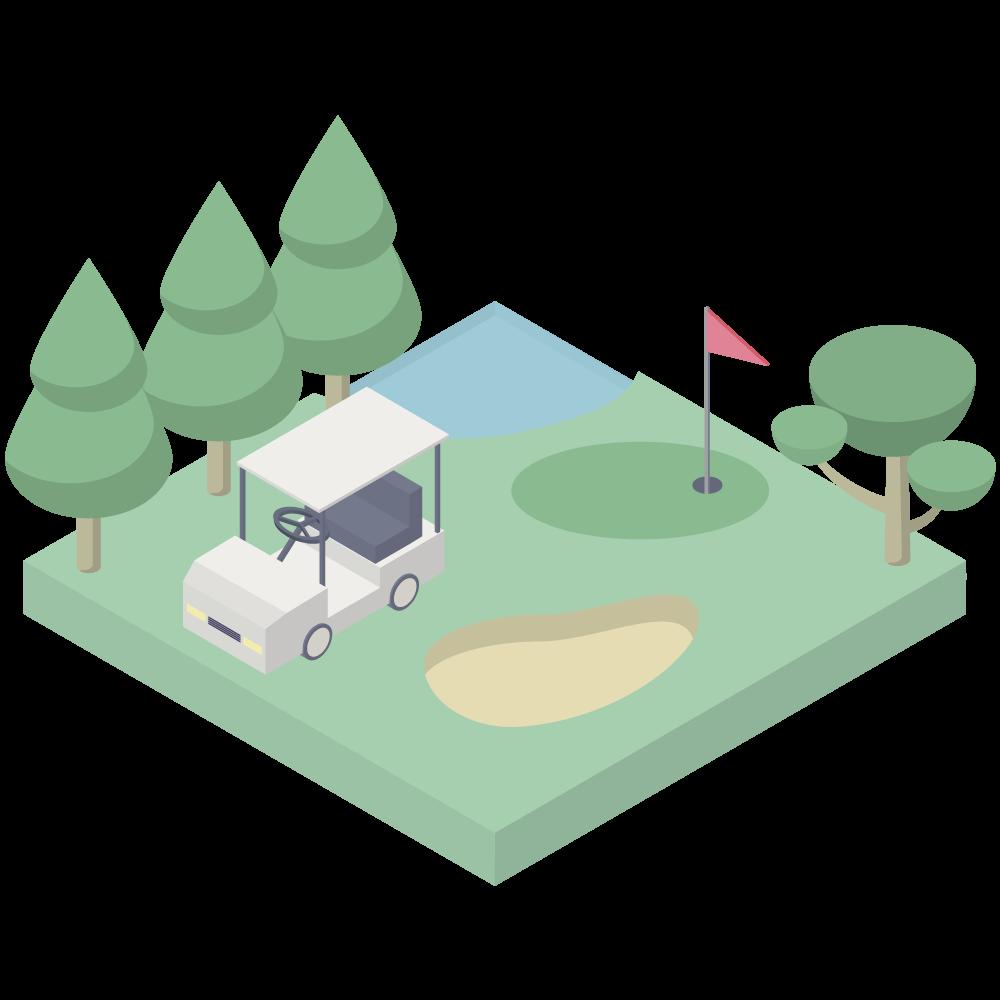 シンプルでかわいいアイソメトリックのゴルフカートのあるゴルフ場の素材