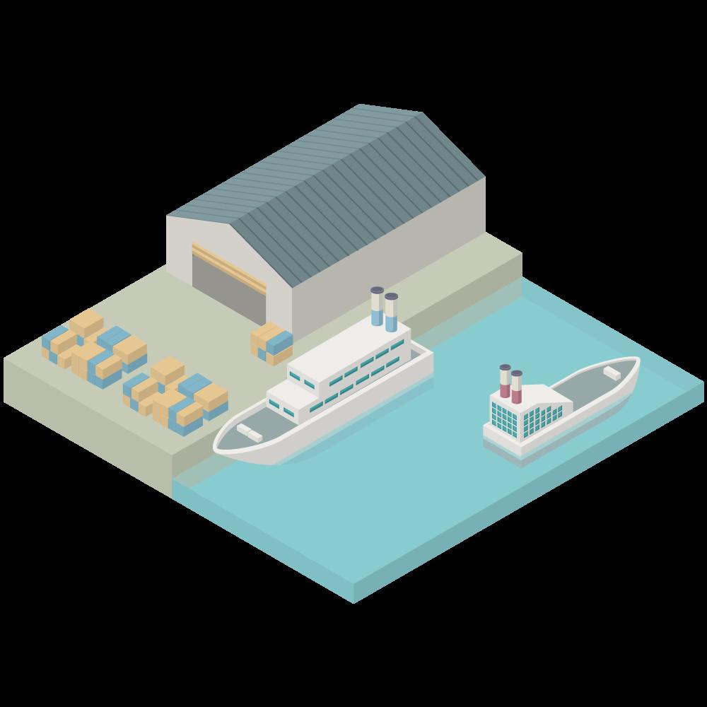 シンプルでかわいいアイソメトリックの船着き場(港湾)portの3D素材