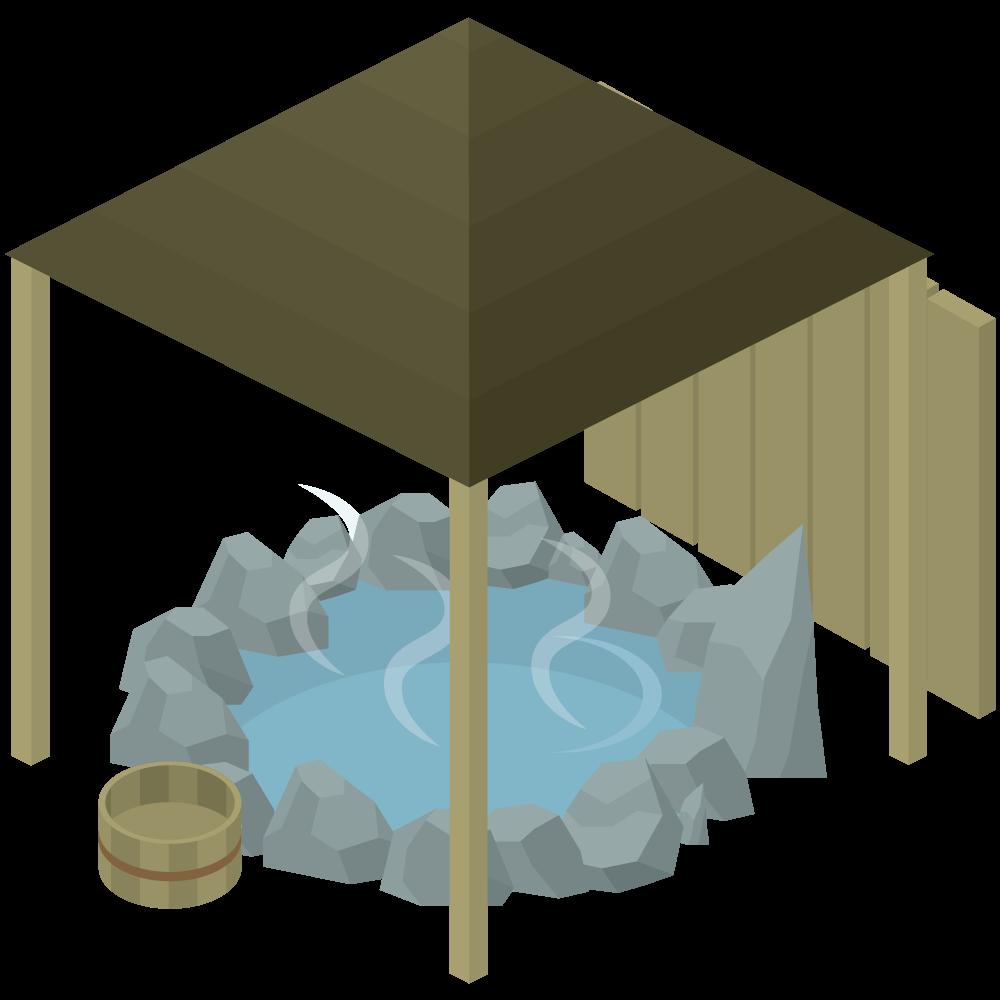 シンプルでかわいいアイソメトリックの露天風呂spaの素材