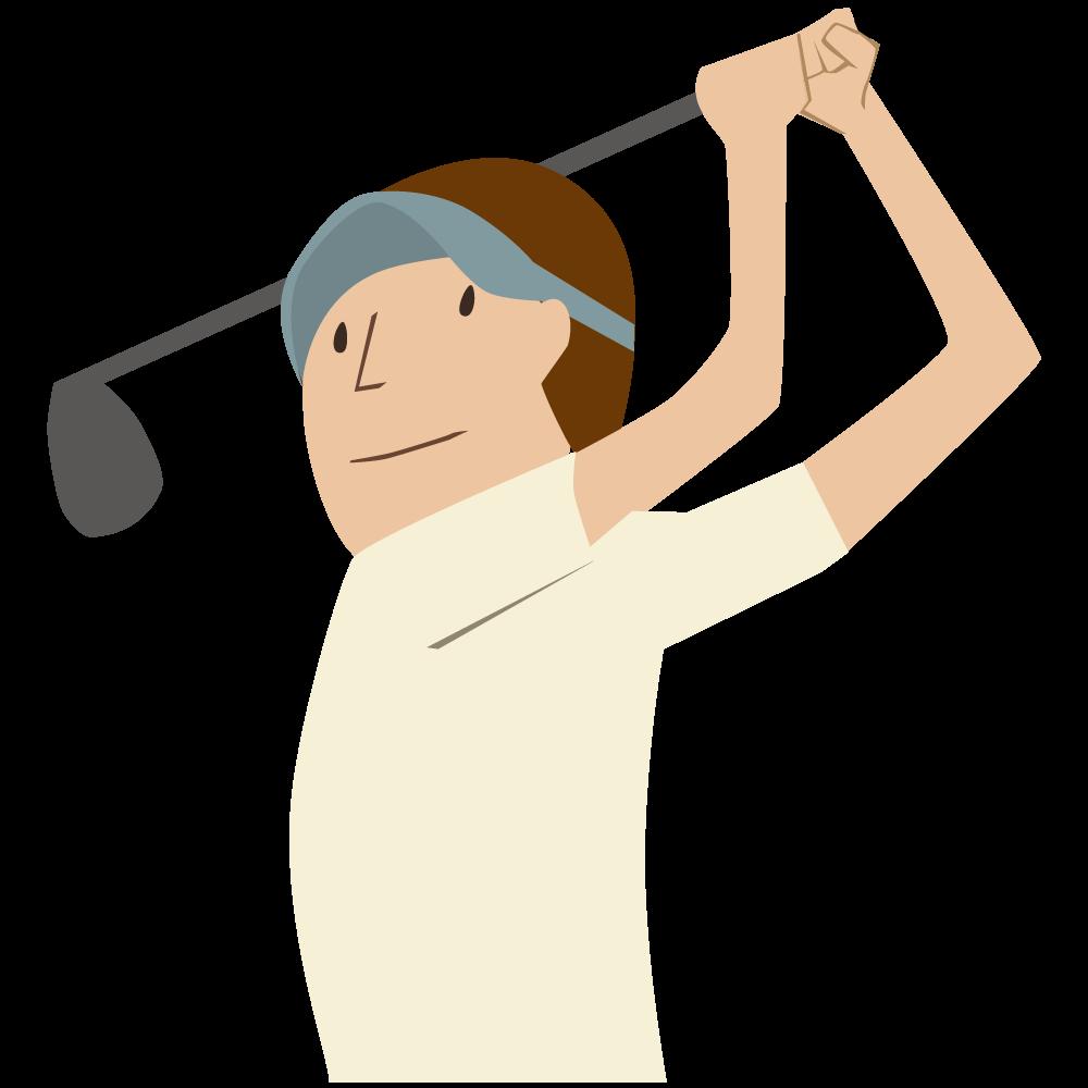 シンプルでかわいいドライバーを振っている青いサンバイザーをかぶった男子ゴルファーの素材