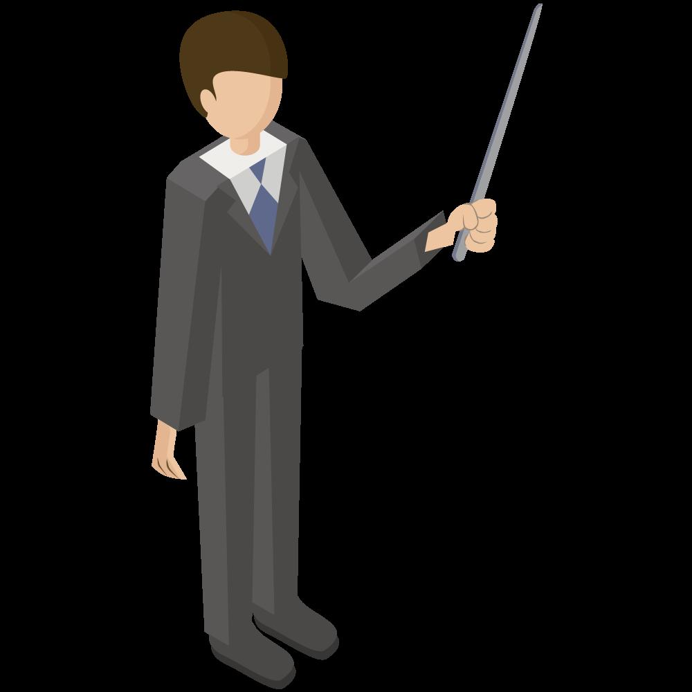 シンプルでかわいい3Dアイソメトリックのスーツの男性がポインターを持っているイラスト素材