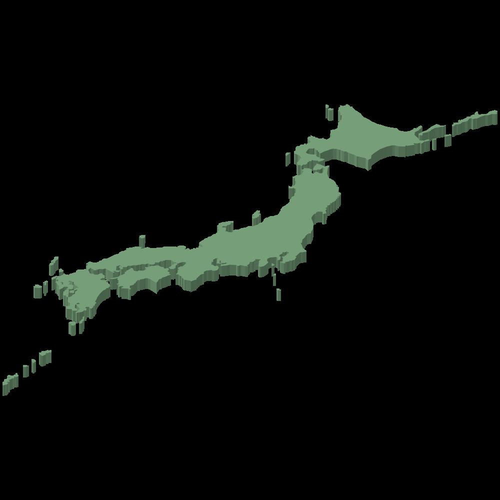 シンプルなアイソメ3Dの日本地図の素材