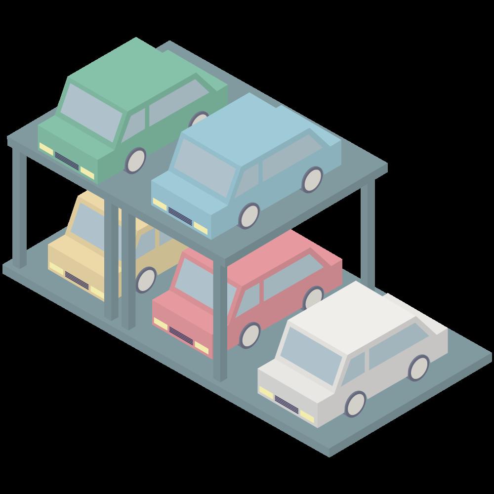 シンプルでアイソメトリックな3Dのマンション立体駐車場の素材