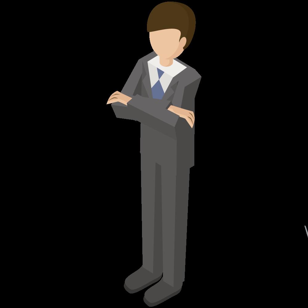 シンプルでかわいい3Dアイソメトリックのスーツの男性が腕を組んでいるイラスト素材
