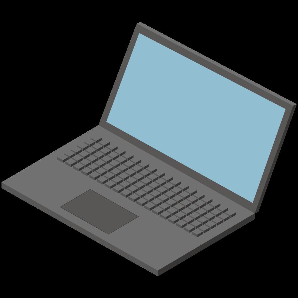 シンプルでかわいい3Dアイソメトリックの表側ノートPCアイコン