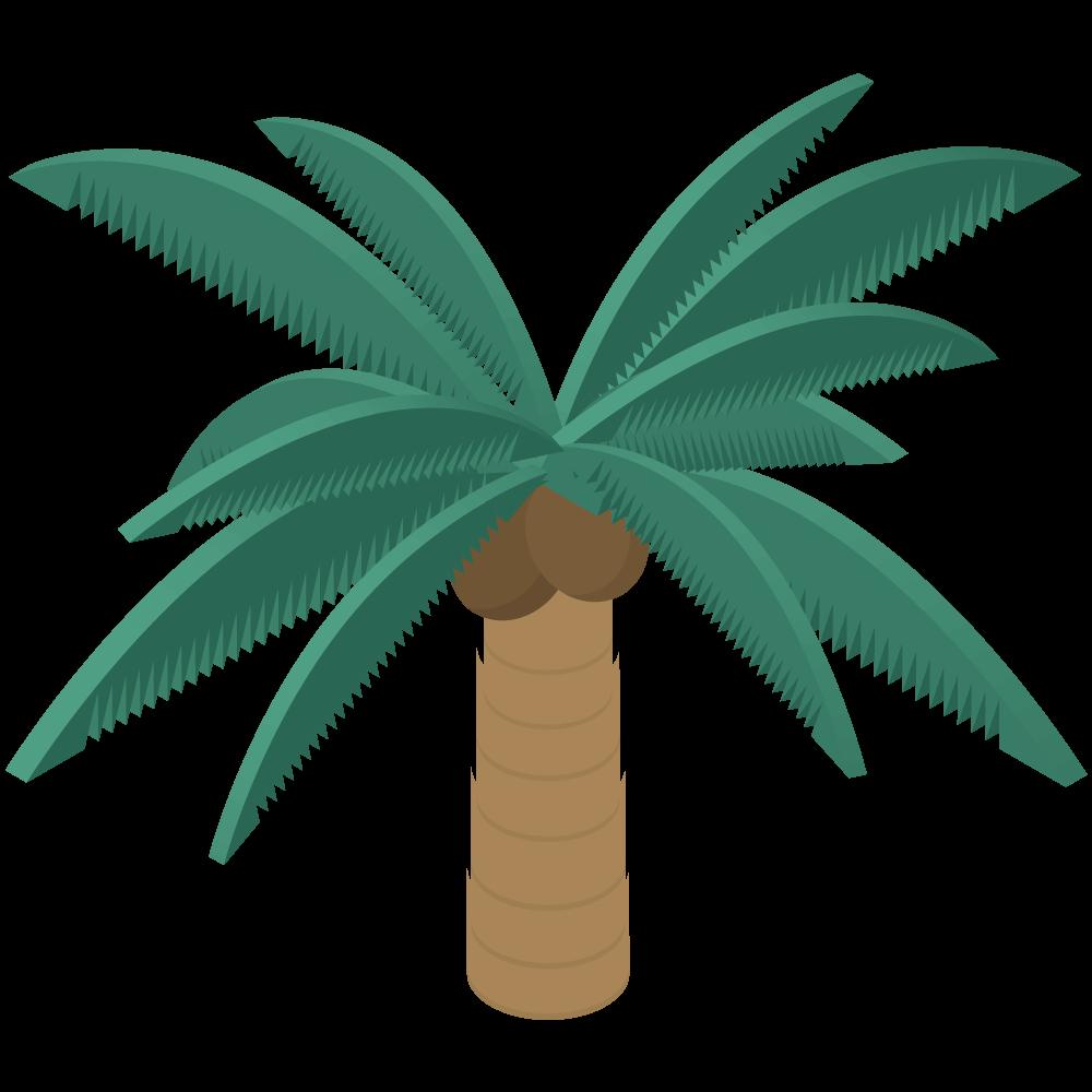 シンプルでかわいいアイソメトリックの椰子の実と椰子の木のイラスト素材