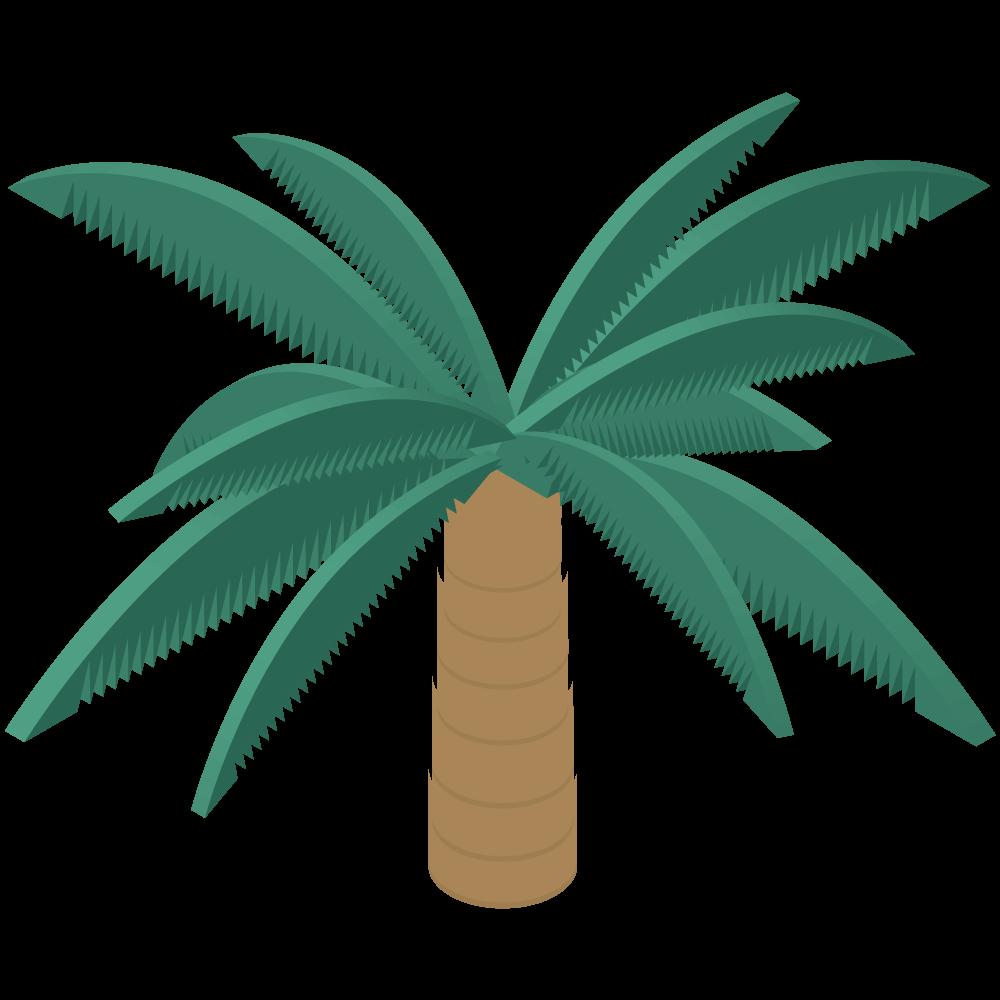 シンプルでかわいいアイソメトリックの椰子の木のイラスト素材