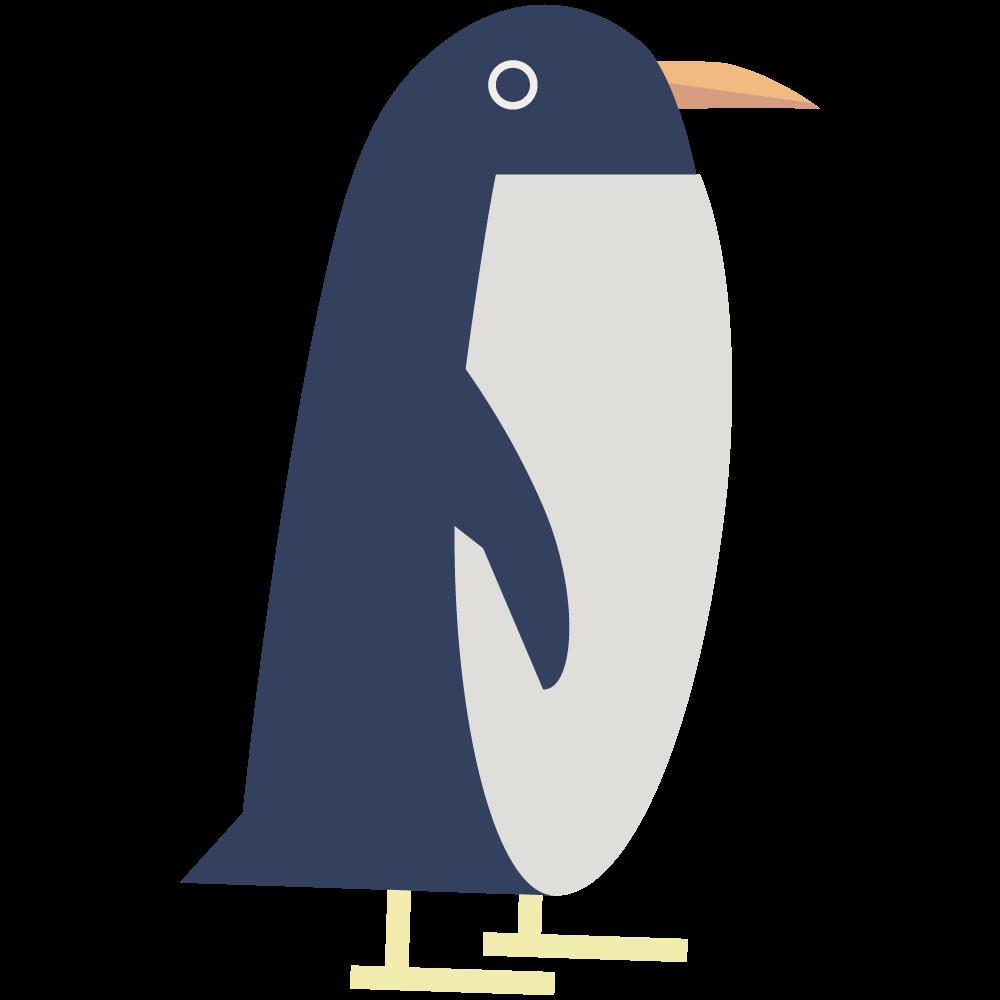 シンプルでかわいいフラットデザインなペンギンの素材
