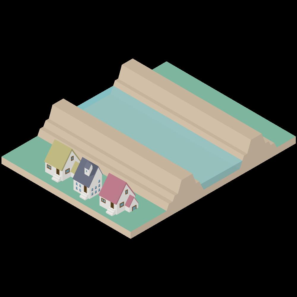 3Dアイソメトリックの河川堤防の横断図の素材