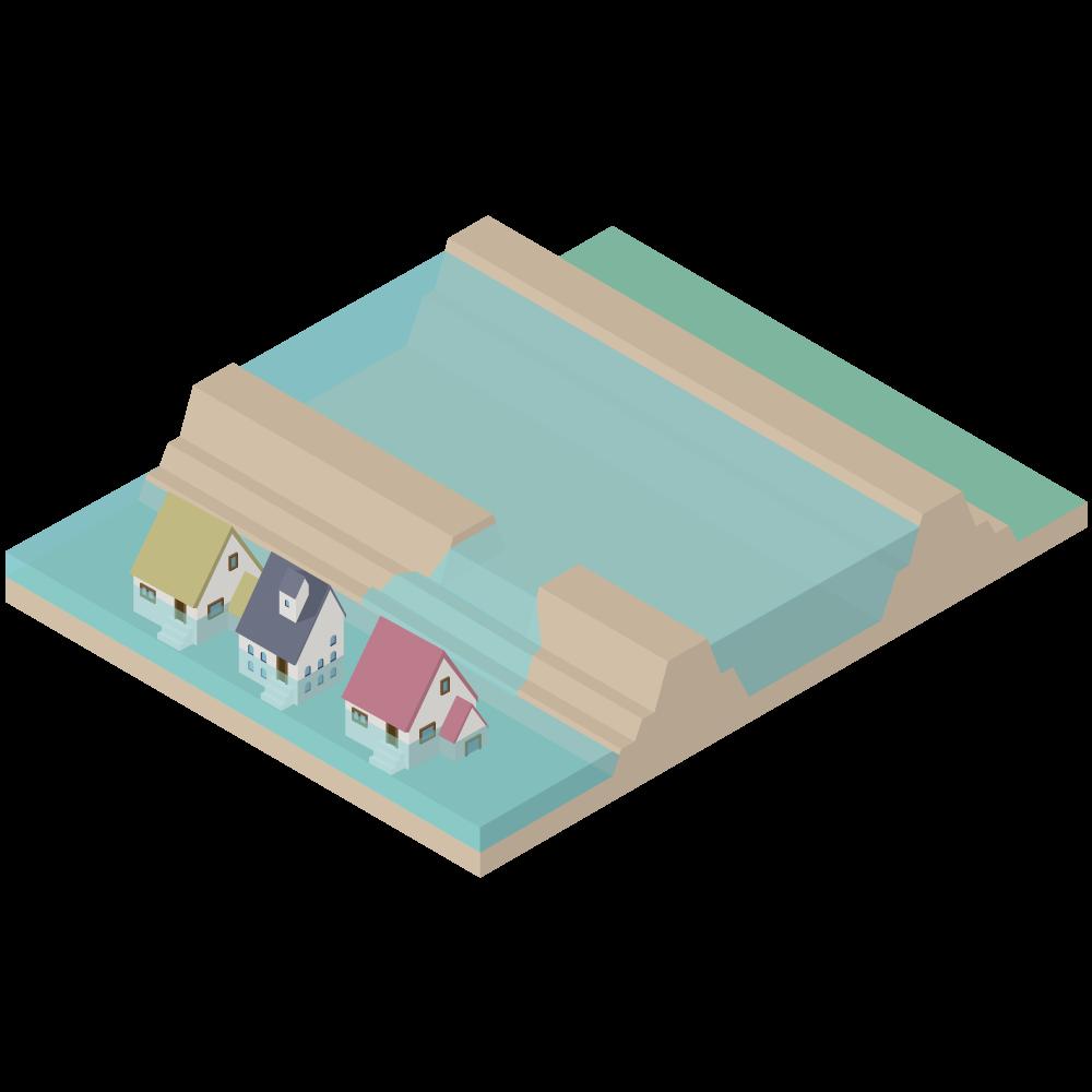 3Dアイソメトリックの堤防が決壊して河川が氾濫し洪水が起きている素材_河川横断図