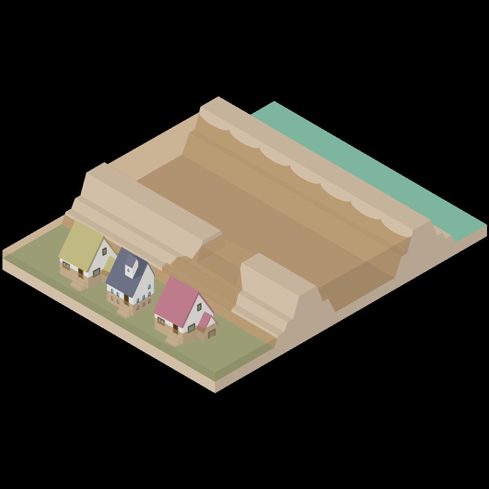 3Dアイソメトリックの堤防が決壊して河川が氾濫し洪水(家屋浸水)が起きている素材_河川横断図