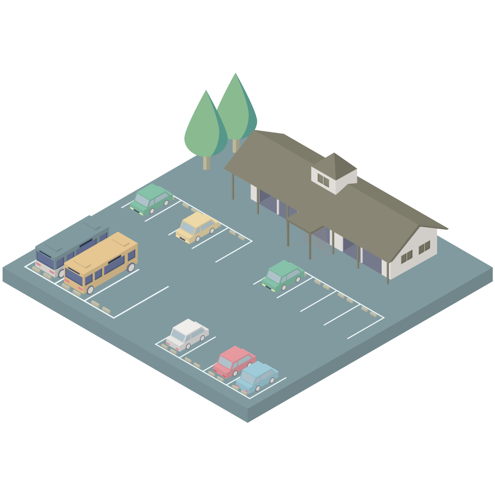 シンプルでかわいいアイソメトリックの駐車場と道の駅の素材