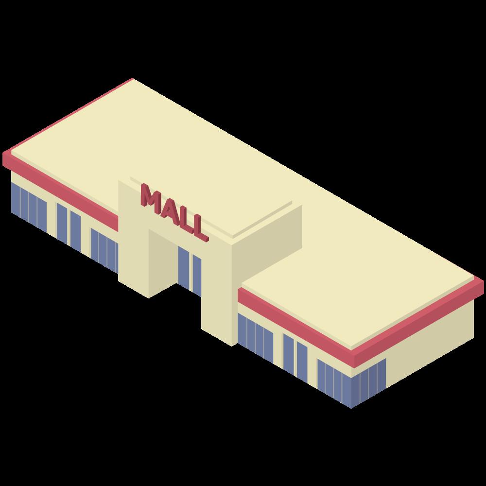 シンプルでかわいいアイソメトリックのショッピングセンターShoppingcenterの素材