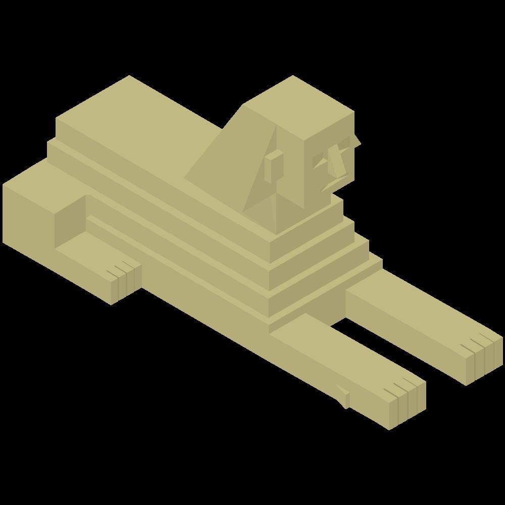 シンプルでかわいいアイソメトリックのエジプトのスフィンクスのイラスト素材