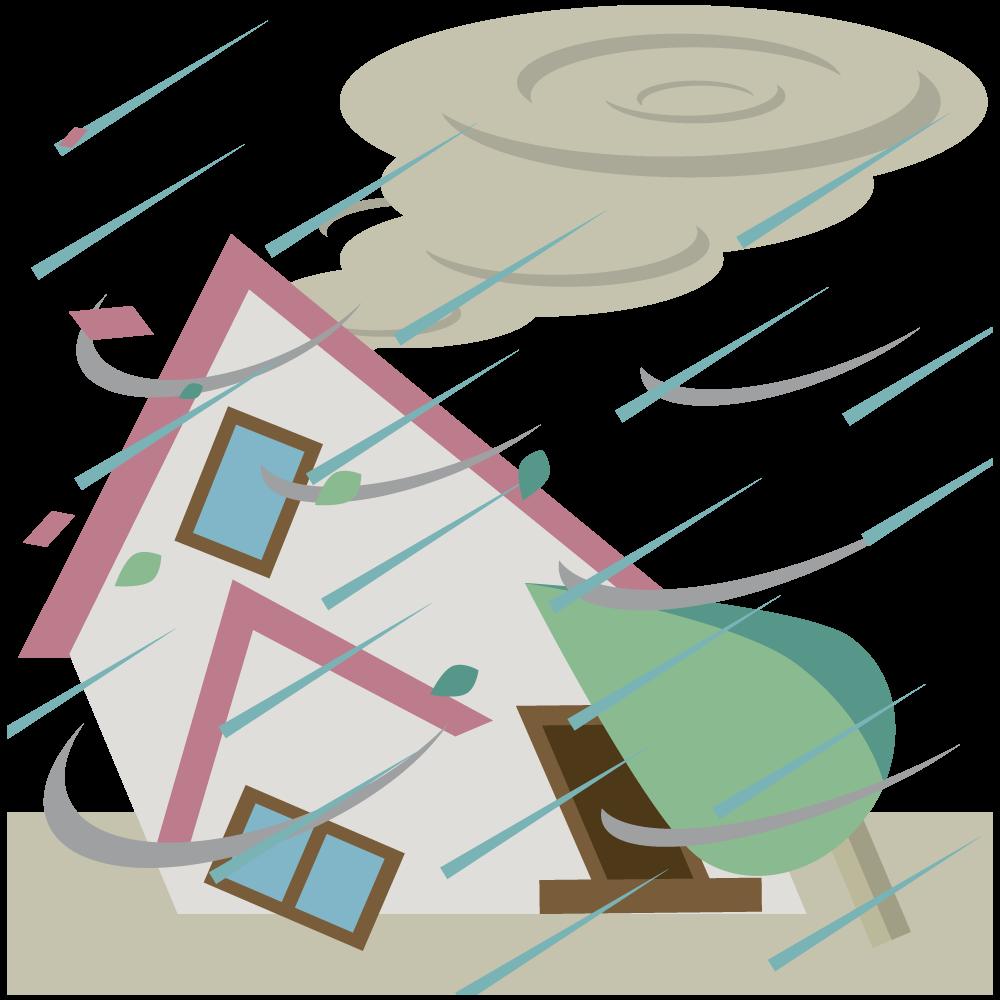 台風typhoonで暴風雨と大雨の被害にあった家の素材
