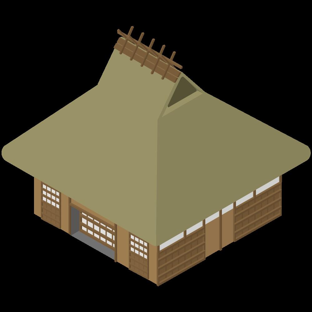 シンプルでかわいいアイソメトリックの茅葺屋根の日本家屋のイラスト素材