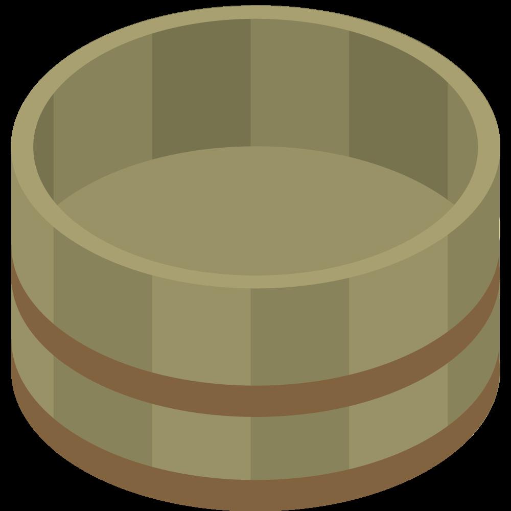 シンプルでかわいいアイソメトリックの空の湯桶の素材