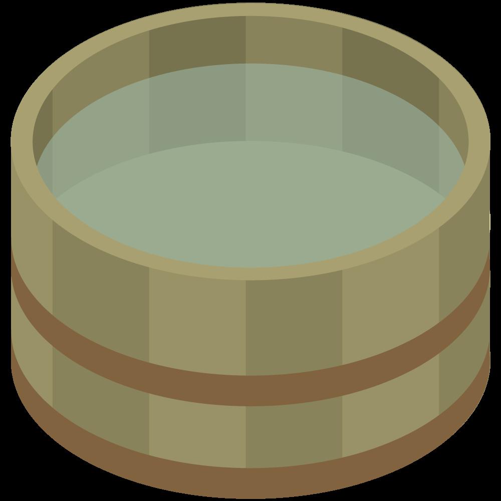 シンプルでかわいいアイソメトリックのお湯の入った湯桶の素材