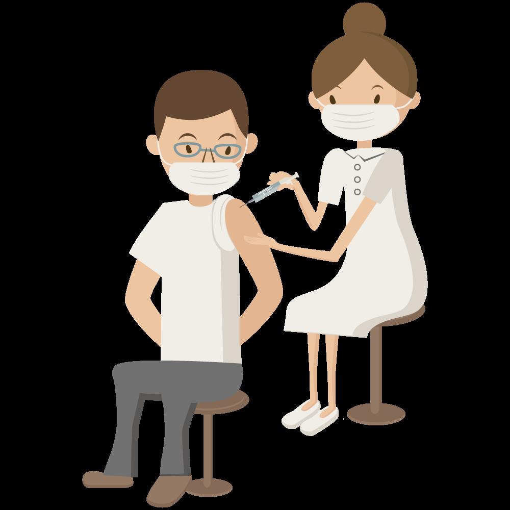 covid-19のコロナワクチンの予防接種を看護師に打ってもらっている男性素材