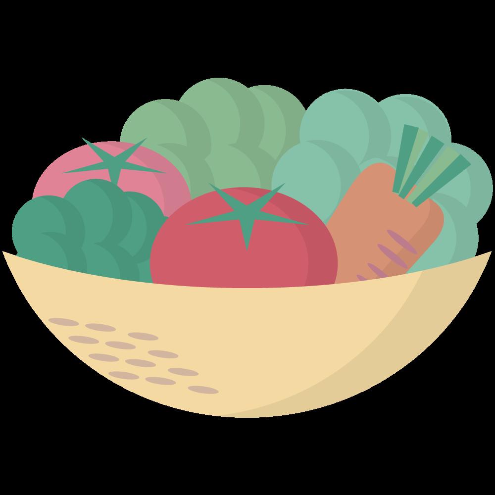シンプルでかわいい籠に入ったトマトとブロッコリーと人参のイラスト