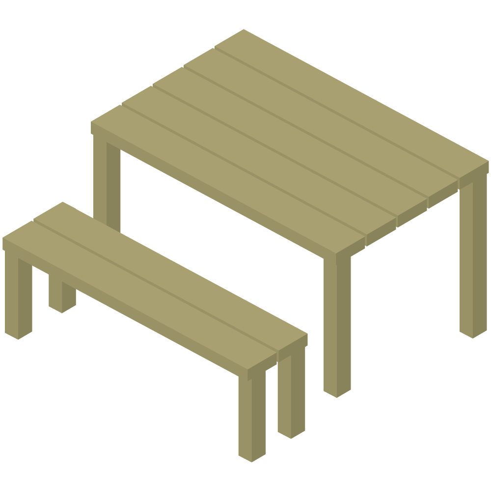 シンプルでかわいいアイソメ3Dの木のテーブルとベンチの素材