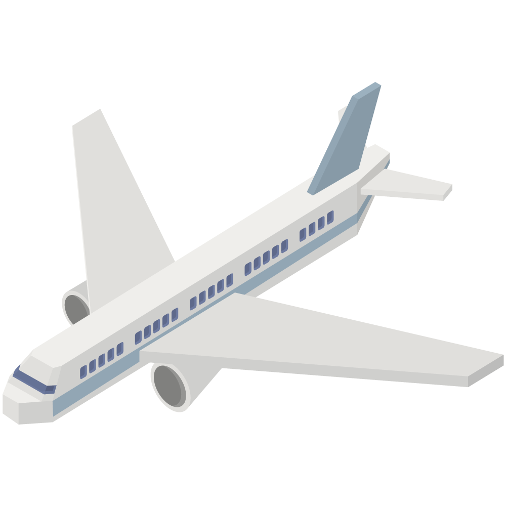 シンプルでかわいいアイソメトリックの青い旅客機の素材