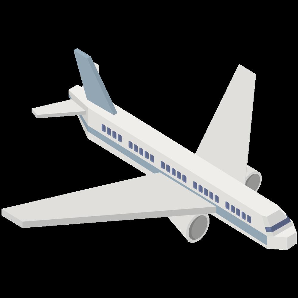 シンプルでかわいいアイソメトリックの青い航空機の素材