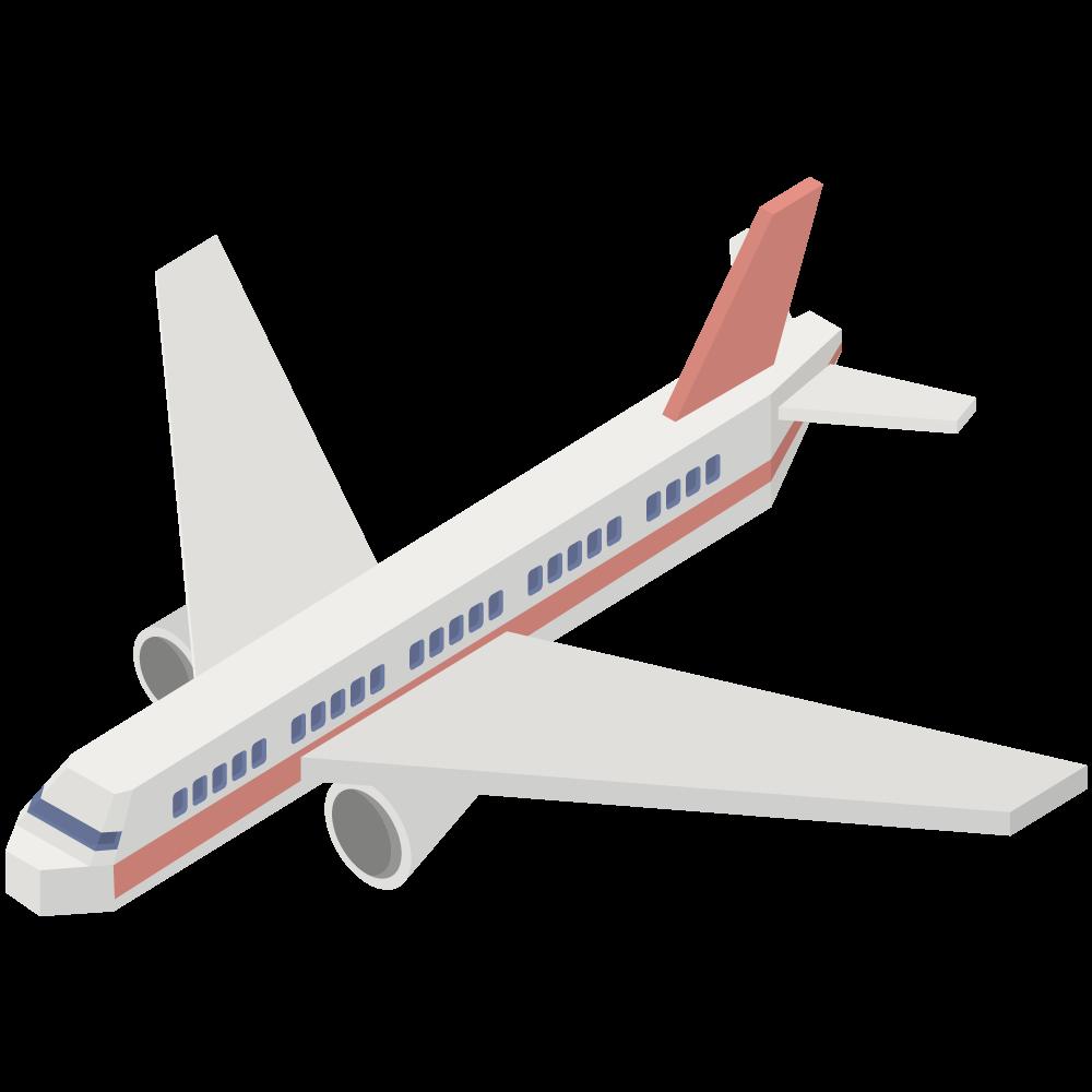 シンプルでかわいいアイソメトリックの赤い旅客機の素材