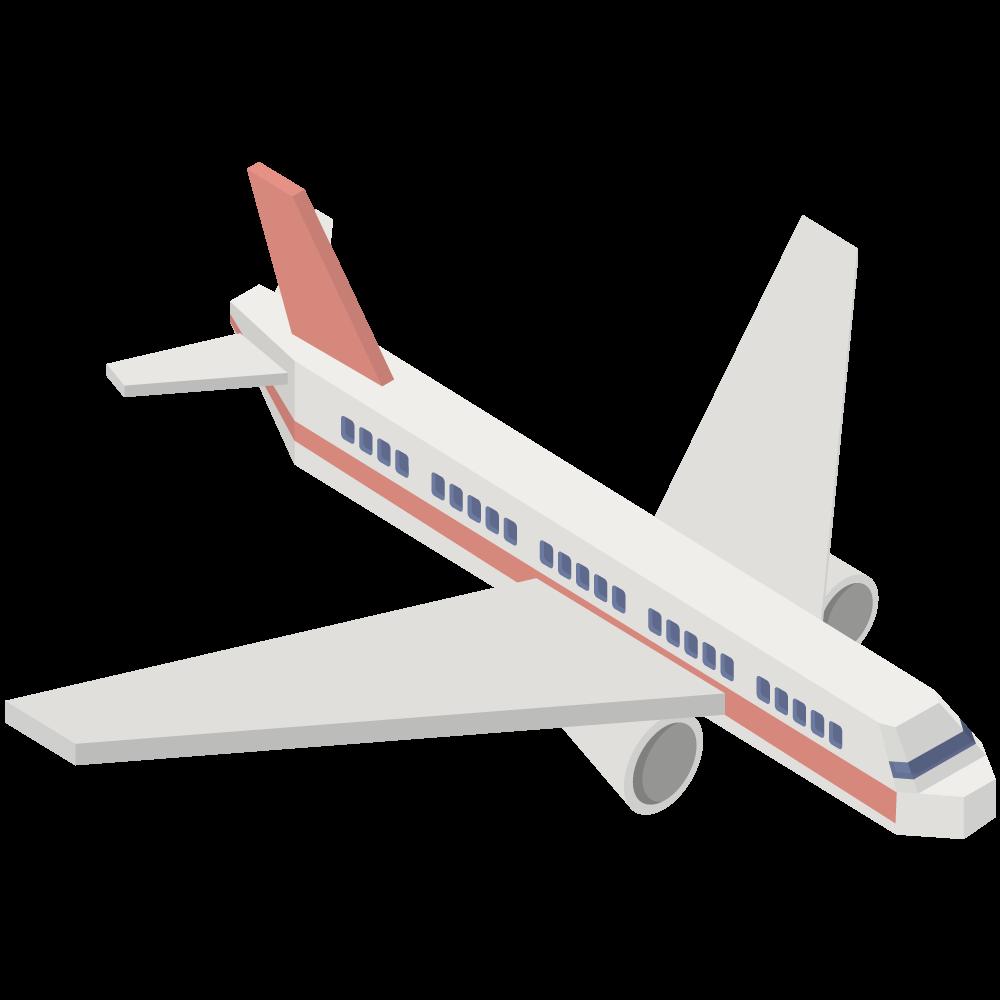 シンプルでかわいいアイソメトリックの赤い航空機の素材