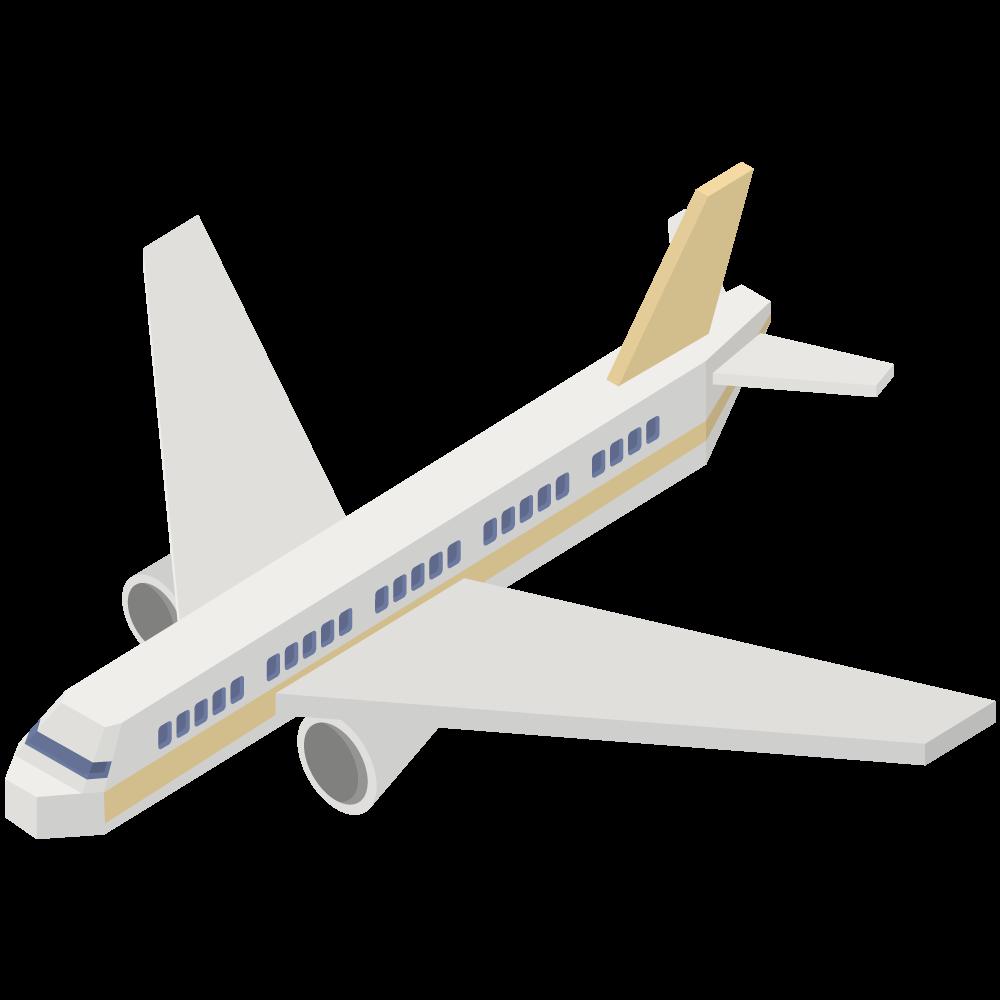 シンプルでかわいいアイソメトリックの黄色い旅客機の素材