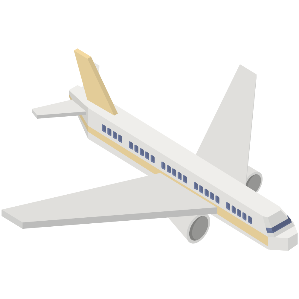 シンプルでかわいいアイソメトリックの黄色い航空機の素材