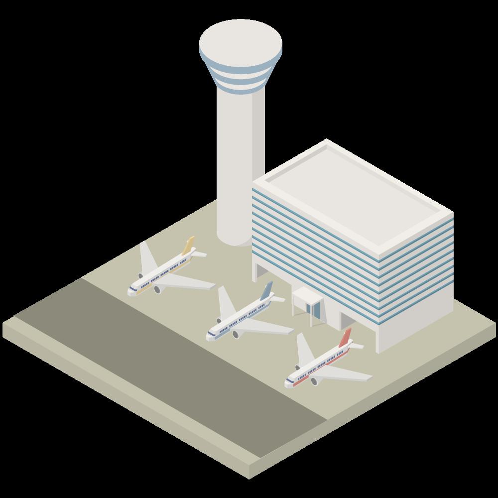 シンプルでかわいいアイソメトリックの飛行機が3機止まっている管制塔のある飛行場の素材