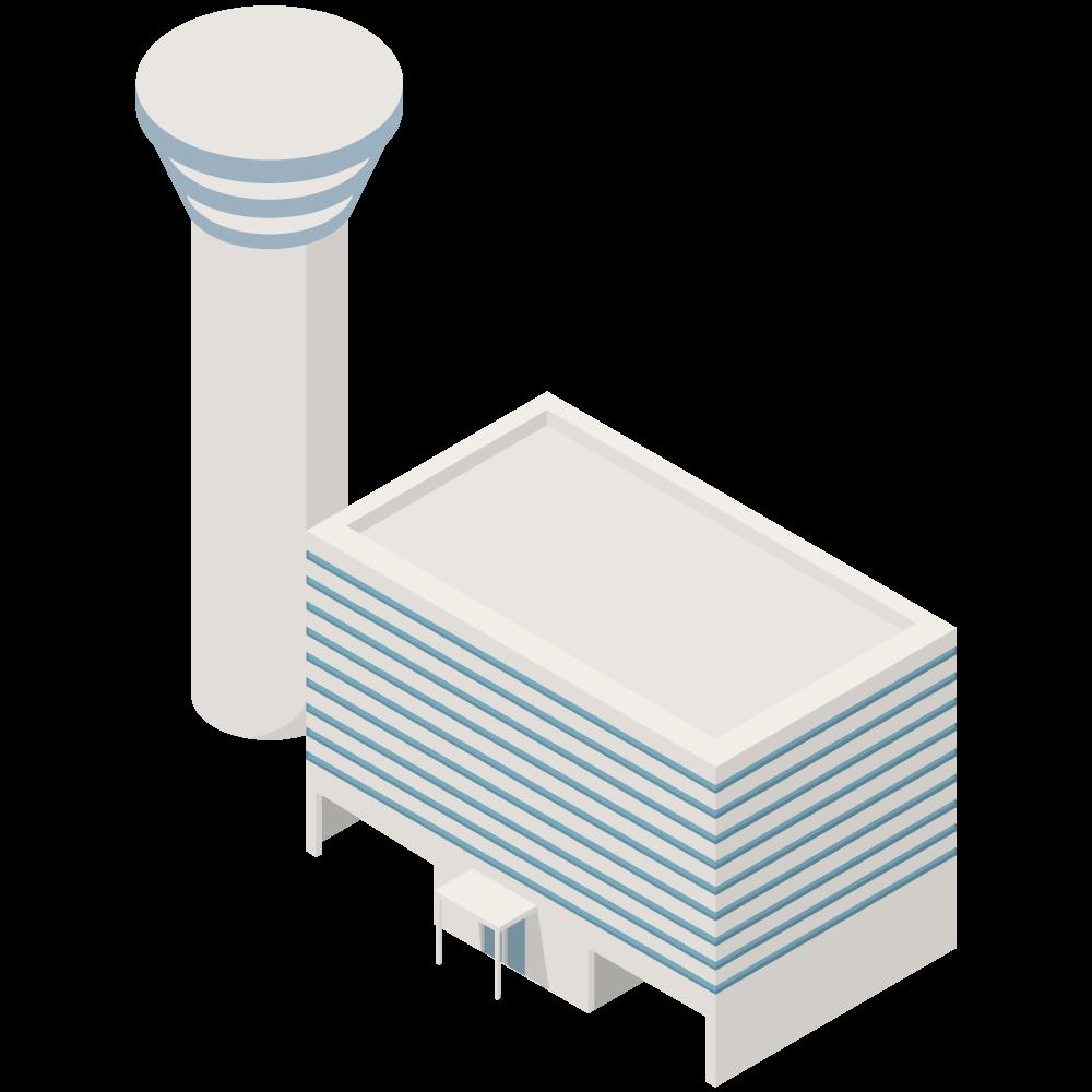 シンプルでかわいいアイソメトリックの管制塔のある空港ターミナルビルの素材