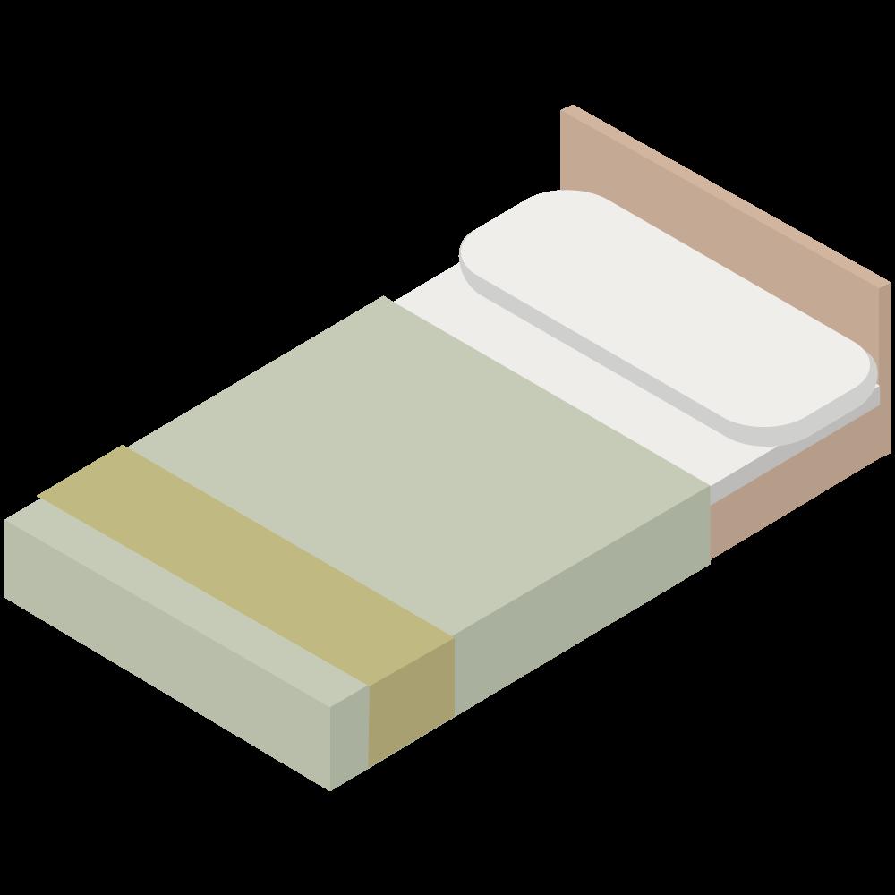 シンプルでかわいい3Dアイソメトリックのベッドのアイコン