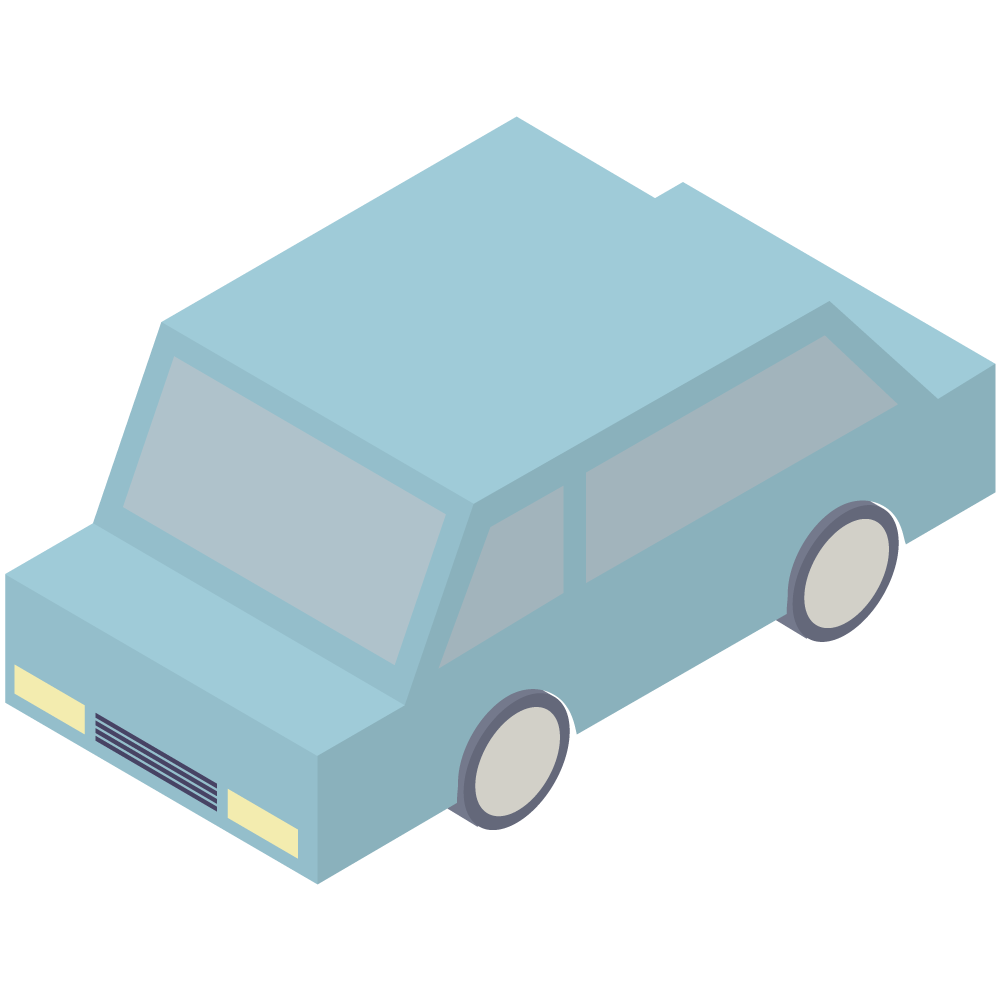 シンプルでアイソメトリックな3Dの青い車の素材