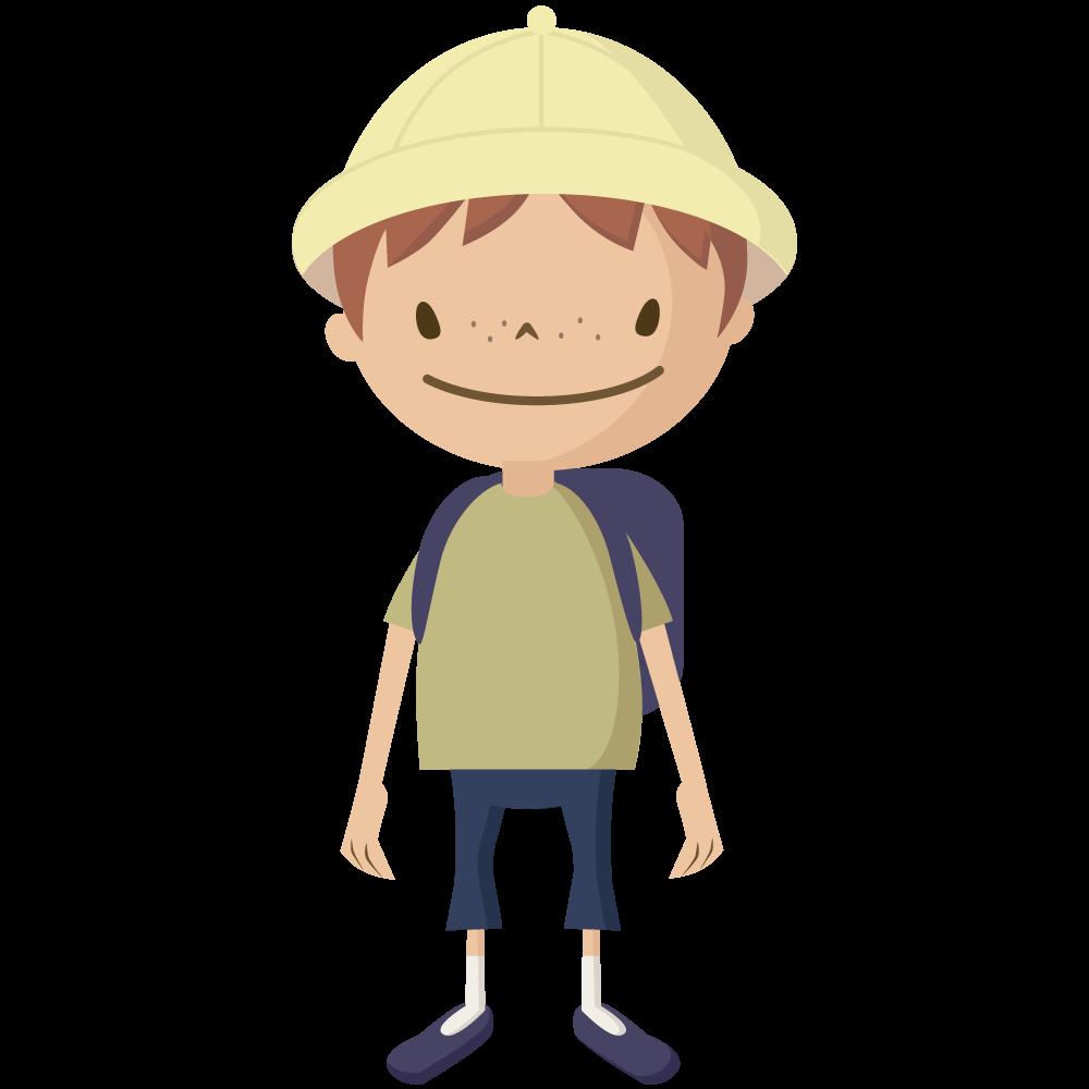 シンプルでかわいい黄色い帽子とランドセルの小学生の男の子イラスト
