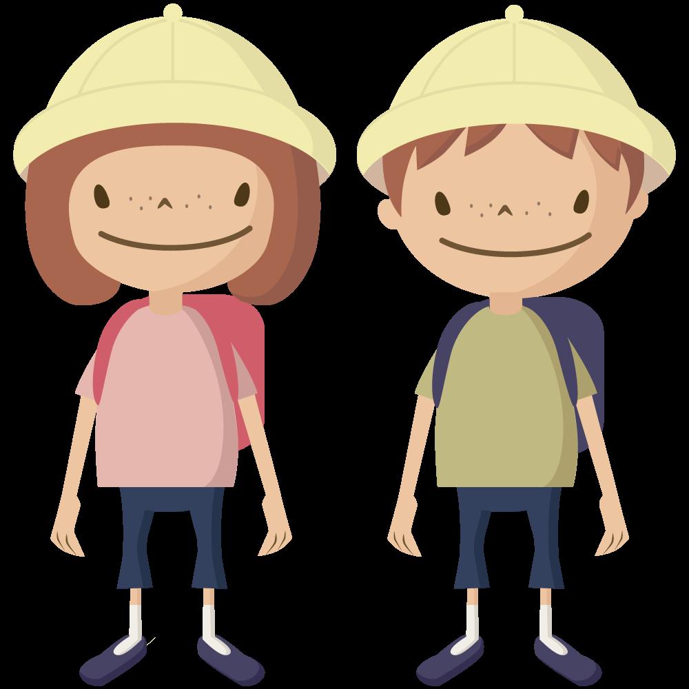 シンプルでかわいい黄色い帽子とランドセルの小学生の男の子と女の子イラスト
