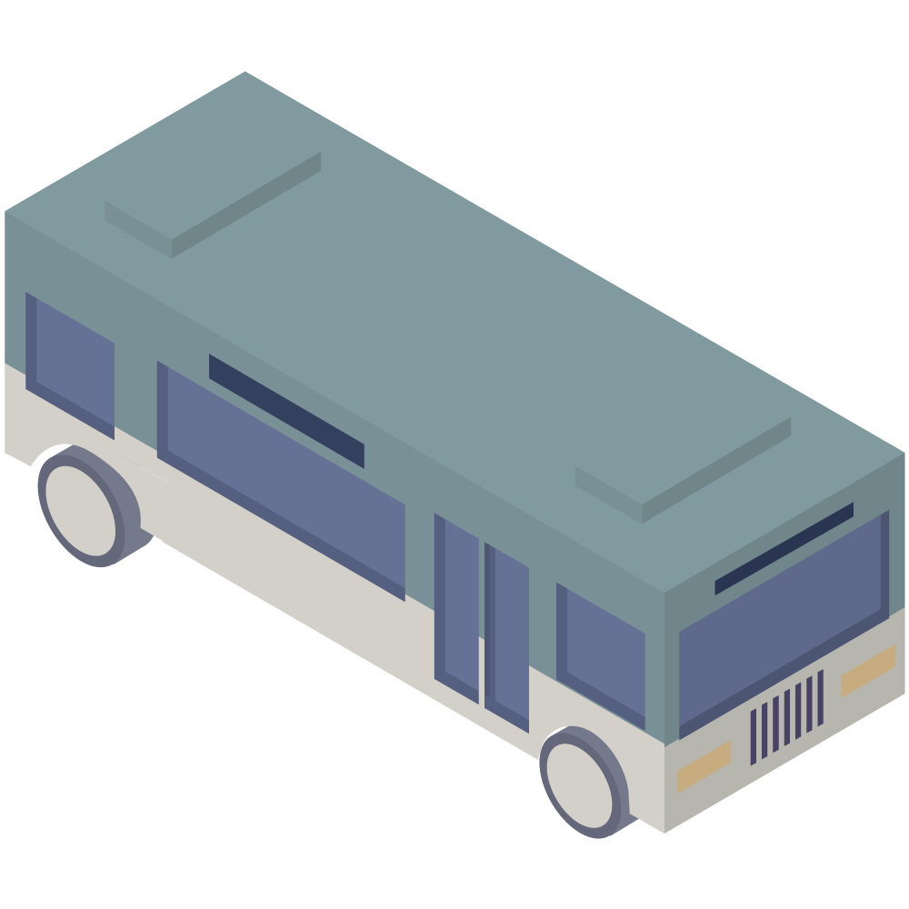 シンプルでかわいいアイソメトリックの青いバスの素材